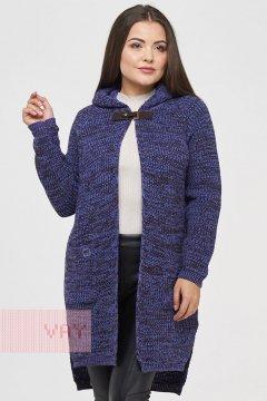 Жакет (кардиган) женский 182-1556 (Фиолетовый/черный/темно-коричневый)
