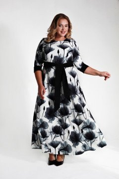 Платье 125605 (Черно-белый)