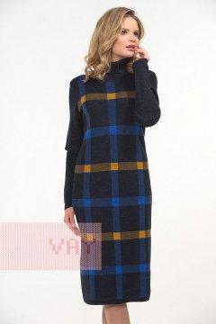 Платье женское 2281 (Синий меланж/звездный/горчица)