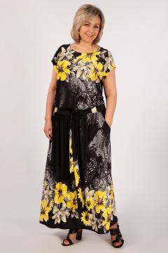 """Платье """"Анджелина-2"""" (Черный/цветы желтые)"""