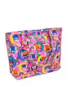Пляжная сумка (Совы на розовом)