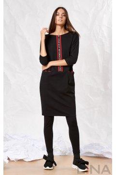 """Платье """"Лина"""" 52173 (Черный с красным)"""