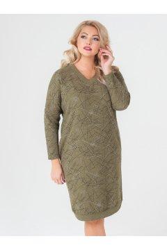 """Платье """"Ариша"""" (Зелёный/принт/штрихи)"""