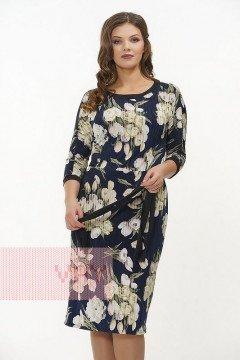 Платье женское 181-3417 (Букет темно-синий/черный)