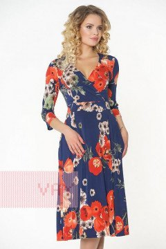 Платье женское 181-3428 (Гербера темно-синий)