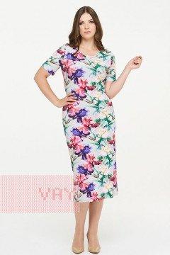 Платье женское 181-3434 (Ирисы светло-серый)