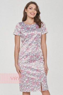 Платье женское 191-3504 (Пионы молоко)