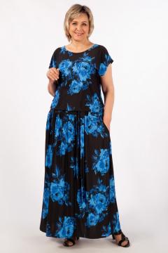 """Платье """"Анджелина-2"""" (Цветы синие)"""