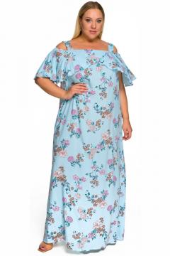 "Платье-сарафан ""ЛаТэ"" 2226705 (принт цветочный голубой)"