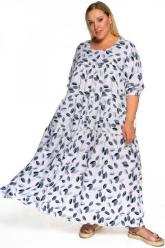 """Платье """"ЛаТэ"""" 2215716 (принт """"листочки"""" на белом)"""