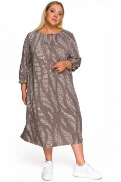 """Платье """"ЛаТэ"""" 2232501 (Кофейное с белой абстракцией)"""