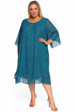 """Платье """"ЛаТэ"""" 2218816 (бирюзовый в белый горошек)"""