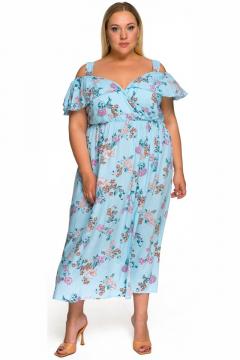 """Платье """"ЛаТэ"""" 2224711 (принт цветочный, голубой)"""