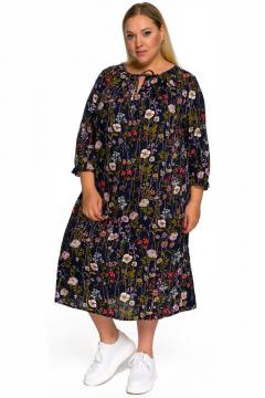 """Платье """"ЛаТэ"""" 2232502 (принт цветочный на темно-синем)"""