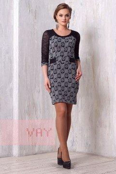 Платье женское 3146 (Синий-серый калейдоскоп/гипюр черный)