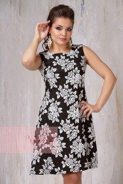 Платье женское 3298 (Черно-белый розы)