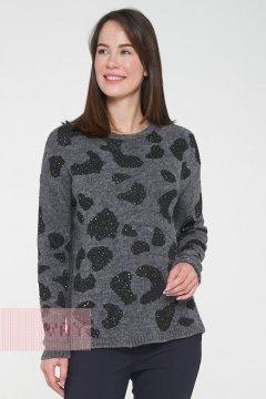 Джемпер женский 192-4876 (Серый/пайетки черный)