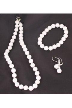 """Комплект белый"""" Белый кружок"""": бусы, браслет и серьги (Белый агат)"""