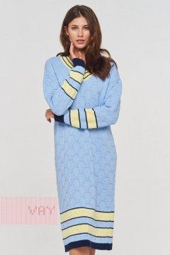 "Платье ""Фемина"" 192-2426 (30418/189/0205 голубой/т.синий/лимон)"