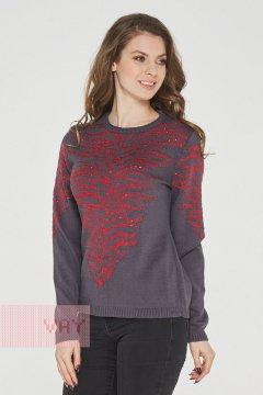 Джемпер женский 192-4886 (Графит/пайетки красный)