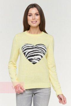 Джемпер женский 192-4072 (Лимон/черный/молоко)